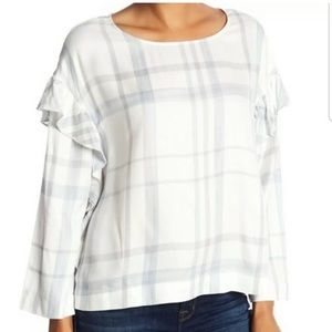 NWT Two by Vince Camuto Plaid Blouse w/ Ruffle